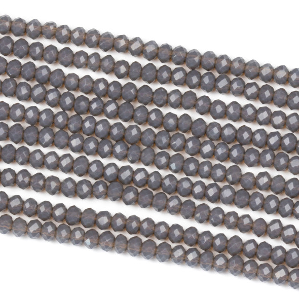 Crystal 2x3mm Milky Earl Grey Rondelle Beads - Approx. 15.5 inch strand