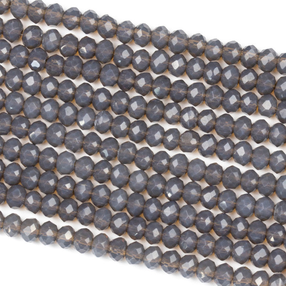 Crystal 3x4mm Milky Earl Grey Rondelle Beads - Approx. 15.5 inch strand