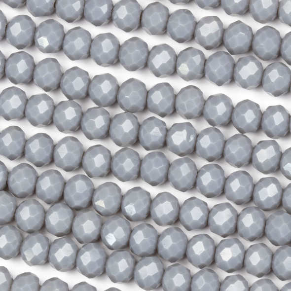 Crystal 4x6mm Opaque Light Earl Grey Rondelle Beads - Approx. 15.5 inch strand
