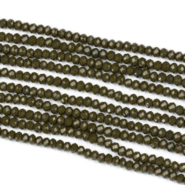 Crystal 2x2mm Opaque Deep Army Green Rondelle Beads - Approx. 15.5 inch strand