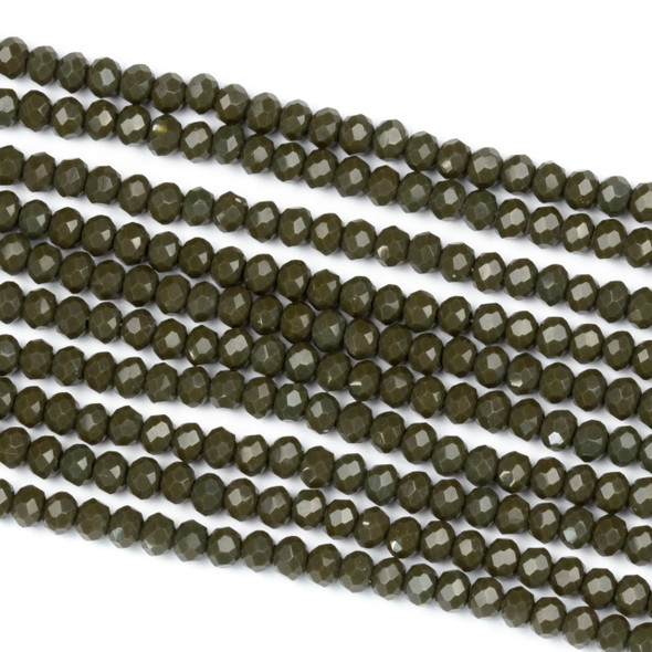 Crystal 2x3mm Opaque Deep Army Green Rondelle Beads - Approx. 15.5 inch strand