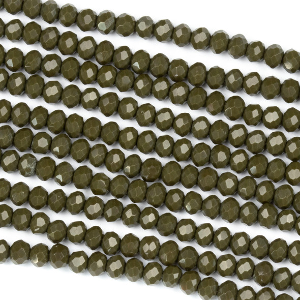 Crystal 3x4mm Opaque Deep Army Green Rondelle Beads - Approx. 15.5 inch strand