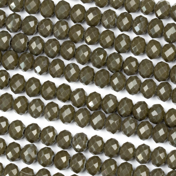 Crystal 4x6mm Opaque Deep Army Green Rondelle Beads - Approx. 15.5 inch strand
