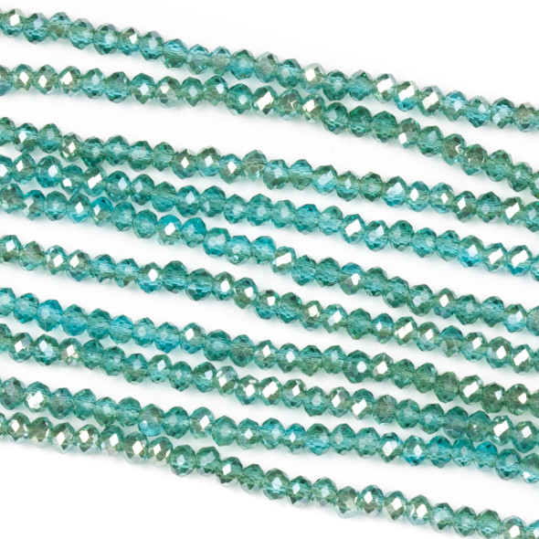 Crystal 2x2mm Blue Grotto Rondelle Beads with a Silver AB finish - Approx. 15.5 inch strand