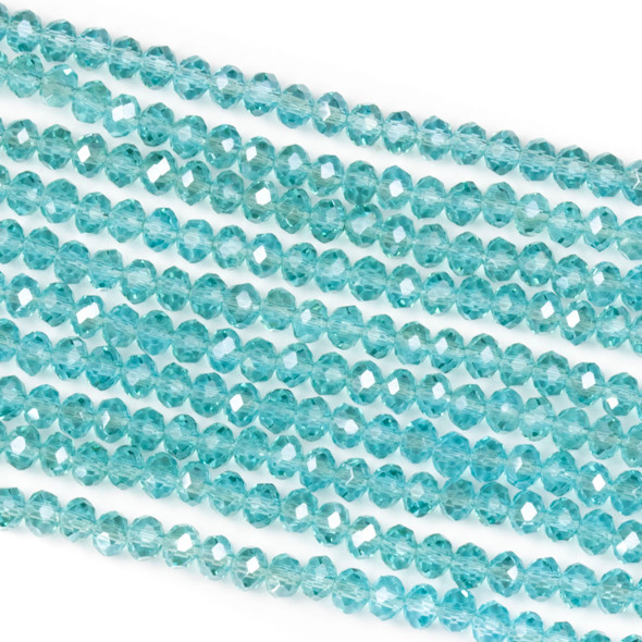 Crystal 2x3mm Light Blue Grotto Rondelle Beads with a Silver AB finish - Approx. 15.5 inch strand