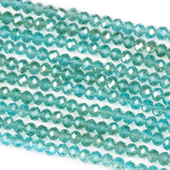 Crystal 3x4mm Blue Grotto Rondelle Beads with a Silver AB finish - Approx. 15.5 inch strand