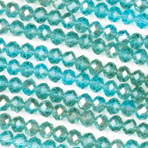 Crystal 4x6mm Blue Grotto Rondelle Beads with a Silver AB finish - Approx. 15.5 inch strand