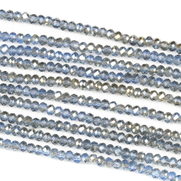 Crystal 2x2mm Taupe Kissed Steel Blue Rondelle Beads with a Silver AB finish - Approx. 15.5 inch strand