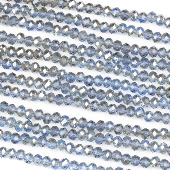 Crystal 2x3mm Taupe Kissed Steel Blue Rondelle Beads with a Silver AB finish - Approx. 15.5 inch strand