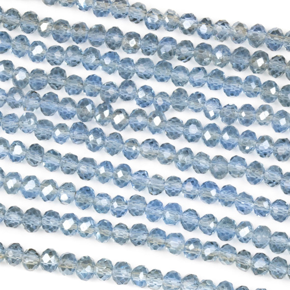 Crystal 3x4mm Taupe Kissed Steel Blue Rondelle Beads with a Silver AB finish - Approx. 15.5 inch strand