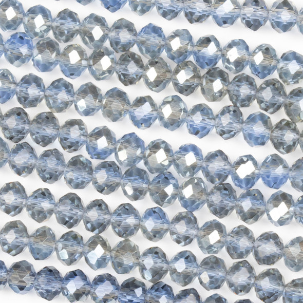 Crystal 4x6mm Taupe Kissed Steel Blue Rondelle Beads with a Silver AB finish - Approx. 15.5 inch strand