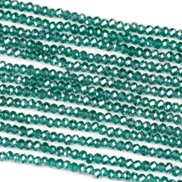 Crystal 2x2mm Emerald Green Rondelle Beads with a Silver AB finish - Approx. 15.5 inch strand