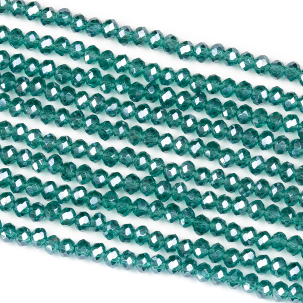 Crystal 2x3mm Emerald Green Rondelle Beads with a Silver AB finish - Approx. 15.5 inch strand