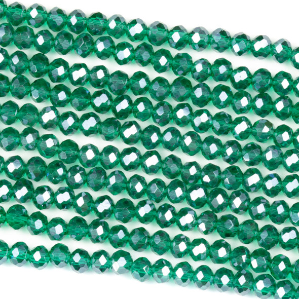 Crystal 3x4mm Emerald Green Rondelle Beads with a Silver AB finish - Approx. 15.5 inch strand