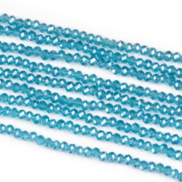 Crystal 2x2mm Pacific Blue Rondelle Beads - Approx. 15.5 inch strand
