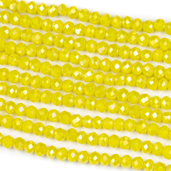 Crystal 3x4mm Opaque Lemon Zest Rondelle Beads with an AB finish - Approx. 15.5 inch strand