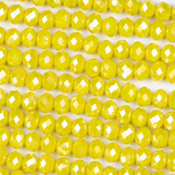 Crystal 4x6mm Opaque Lemon Zest Rondelle Beads with an AB finish - Approx. 15.5 inch strand