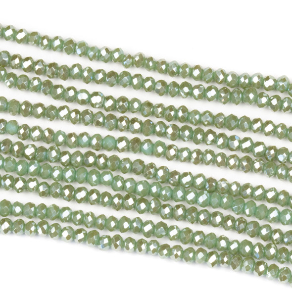 Crystal 2x2mm Opaque Island Green Rondelle Beads - Approx. 15.5 inch strand