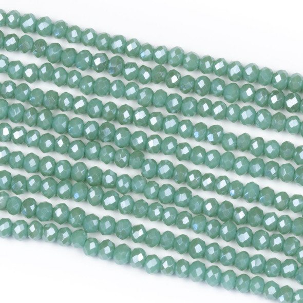 Crystal 2x3mm Opaque Island Blue Rondelle Beads - Approx. 15.5 inch strand