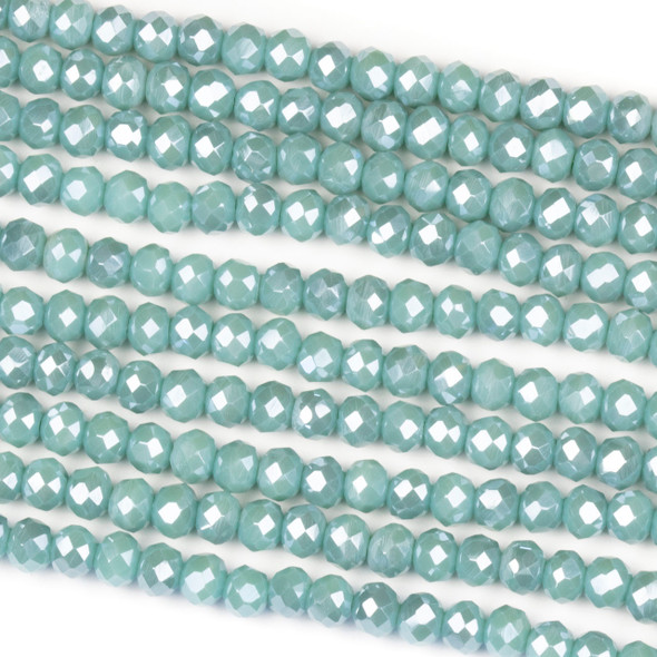 Crystal 3x4mm Opaque Island Blue Rondelle Beads - Approx. 15.5 inch strand