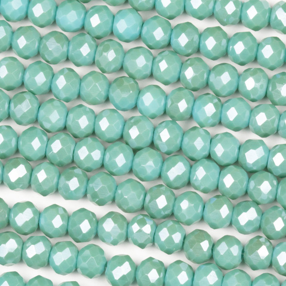 Crystal 4x6mm Opaque Island Blue Rondelle Beads - Approx. 15.5 inch strand