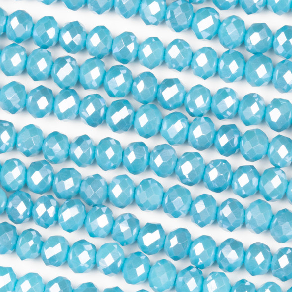 Crystal 4x6mm Opaque Robin's Egg Blue Rondelle Beads with a Silver AB finish - Approx. 15.5 inch strand