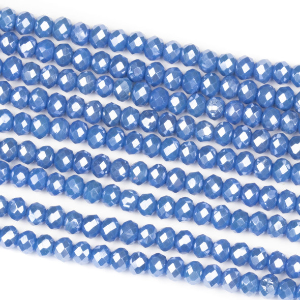 Crystal 3x4mm Opaque Atlantic Blue Rondelle Beads - Approx. 15.5 inch strand