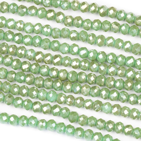 Crystal 3x4mm Opaque Taupe Kissed Herb Green Rondelle Beads - Approx. 15.5 inch strand