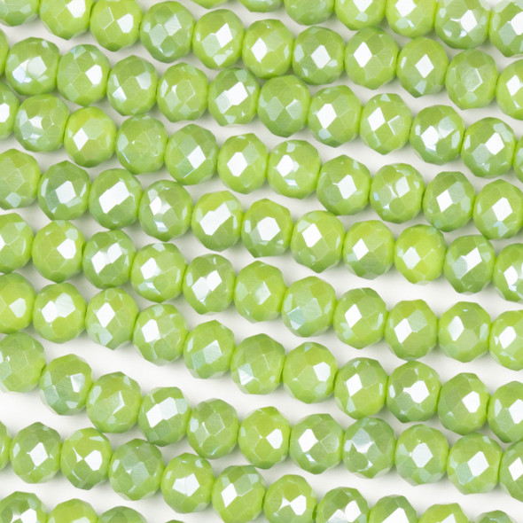 Crystal 4x6mm Opaque Peridot Green Rondelle Beads - Approx. 15.5 inch strand
