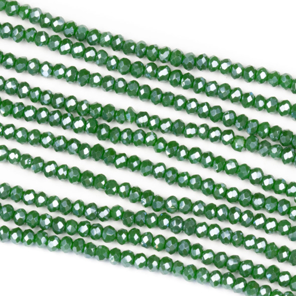 Crystal 2x2mm Opaque Seaweed Green Rondelle Beads with a Silver AB finish - Approx. 15.5 inch strand