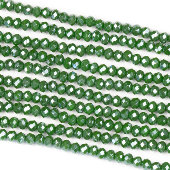 Crystal 2x3mm Opaque Seaweed Green Rondelle Beads with a Silver AB finish - Approx. 15.5 inch strand