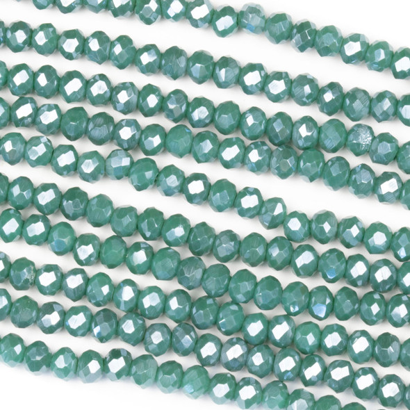 Crystal 3x4mm Opaque Tide Pool Green Rondelle Beads with a Silver AB finish - Approx. 15.5 inch strand
