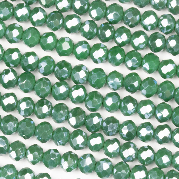 Crystal 4x6mm Opaque Seaweed Green Rondelle Beads with a Silver AB finish - Approx. 15.5 inch strand