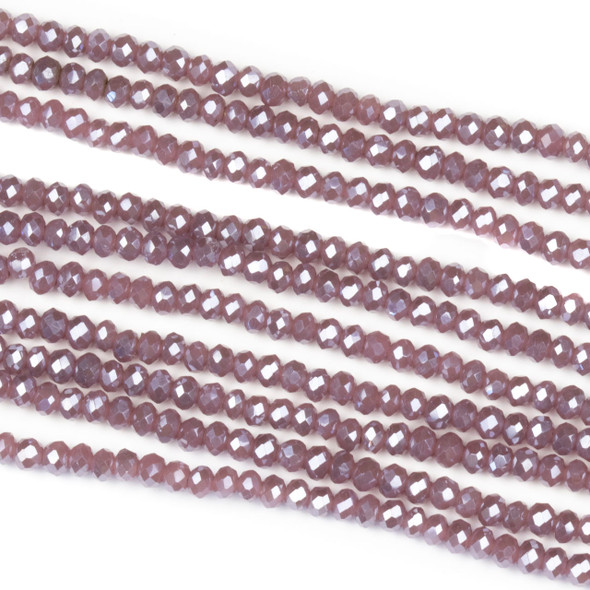 Crystal 2x2mm Opaque Heather Purple Rondelle Beads with a Silver AB finish - Approx. 15.5 inch strand