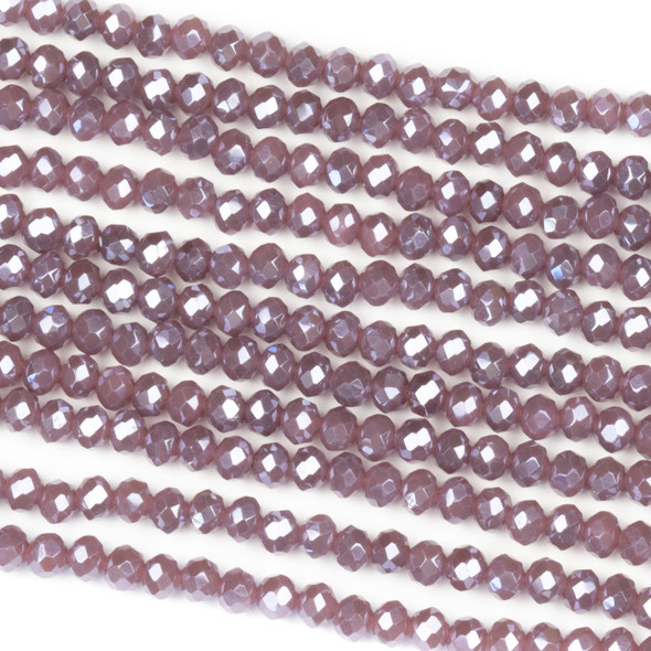Crystal 2x3mm Opaque Heather Purple Rondelle Beads with a Silver AB finish - Approx. 15.5 inch strand