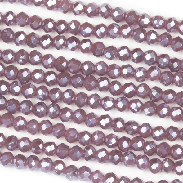 Crystal 3x4mm Opaque Heather Purple Rondelle Beads with a Silver AB finish - Approx. 15.5 inch strand