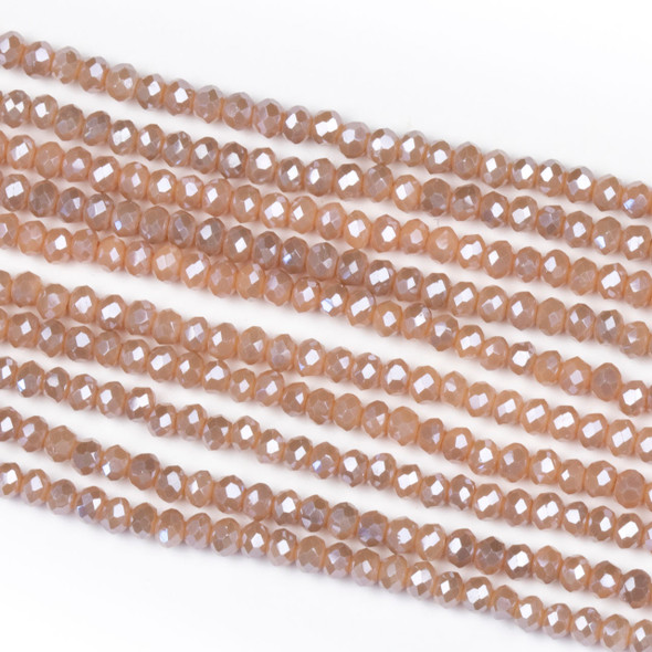 Crystal 2x2mm Opaque Taupe Kissed Peach Rondelle Beads - Approx. 15.5 inch strand