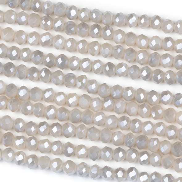 Crystal 3x4mm Opaque Silver Kissed Fawn Grey Rondelle Beads - Approx. 15.5 inch strand