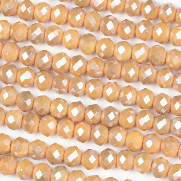 Crystal 4x6mm Opaque Taupe Kissed Peach Rondelle Beads - Approx. 15.5 inch strand