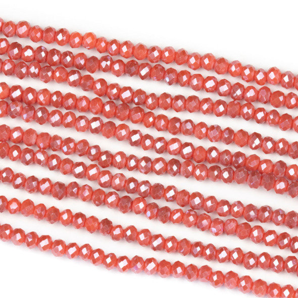 Crystal 2x2mm Opaque Taupe Kissed Wild Strawberry Rondelle Beads - Approx. 15.5 inch strand
