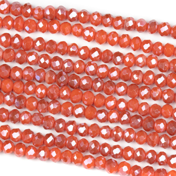 Crystal 3x4mm Opaque Taupe Kissed Wild Strawberry Rondelle Beads - Approx. 15.5 inch strand