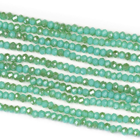 Crystal 2x2mm Opaque Taupe Kissed Matcha Green Rondelle Beads - Approx. 15.5 inch strand