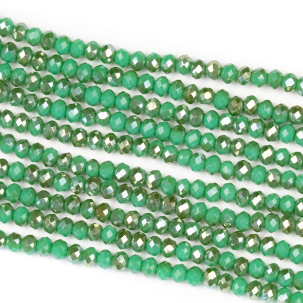 Crystal 2x3mm Opaque Taupe Kissed Dark Matcha Green Rondelle Beads - Approx. 15.5 inch strand