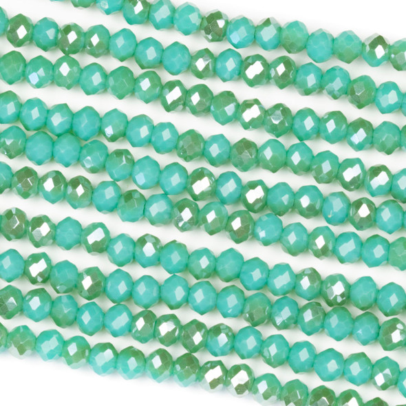 Crystal 3x4mm Opaque Taupe Kissed Matcha Green Rondelle Beads - Approx. 15.5 inch strand