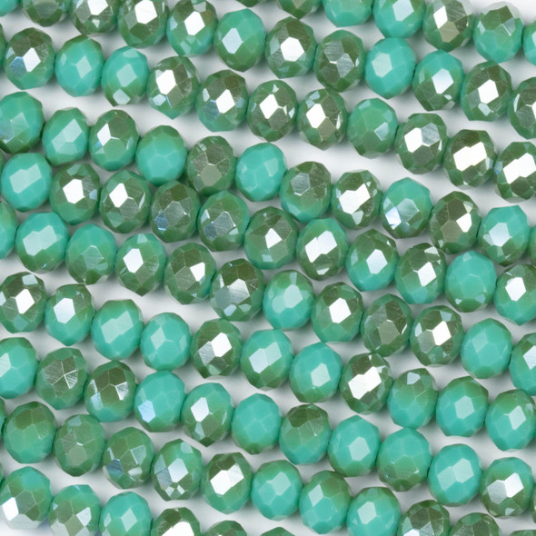 Crystal 4x6mm Opaque Taupe Kissed Matcha Green Rondelle Beads - Approx. 15.5 inch strand
