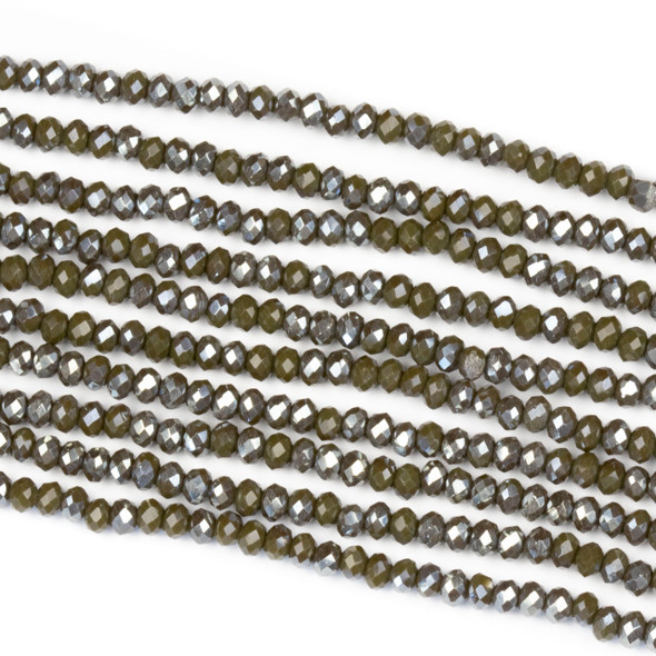 Crystal 2x2mm Opaque Silver Kissed Dark Ash Rondelle Beads - Approx. 15.5 inch strand