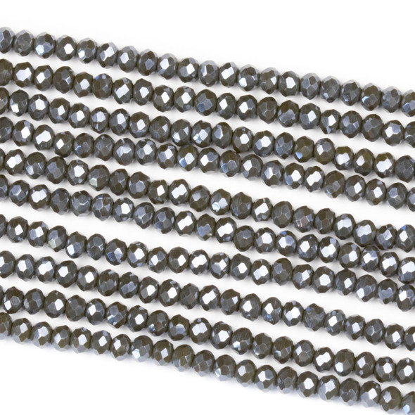 Crystal 2x3mm Opaque Silver Kissed Dark Ash Rondelle Beads - Approx. 15.5 inch strand