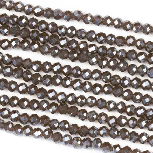 Crystal 3x4mm Opaque Silver Kissed Dark Ash Rondelle Beads - Approx. 15.5 inch strand