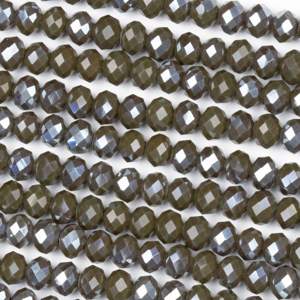 Crystal 4x6mm Opaque Silver Kissed Dark Ash Rondelle Beads - Approx. 15.5 inch strand