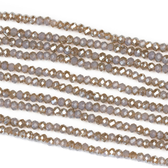 Crystal 2x2mm Opaque Taupe Kissed Stormy Grey Rondelle Beads with a Silver AB finish - Approx. 15.5 inch strand